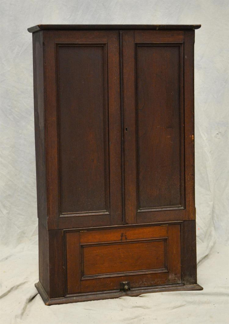 Two door postal cabinet, two doors over a pull up door, fitted dividers, light wear