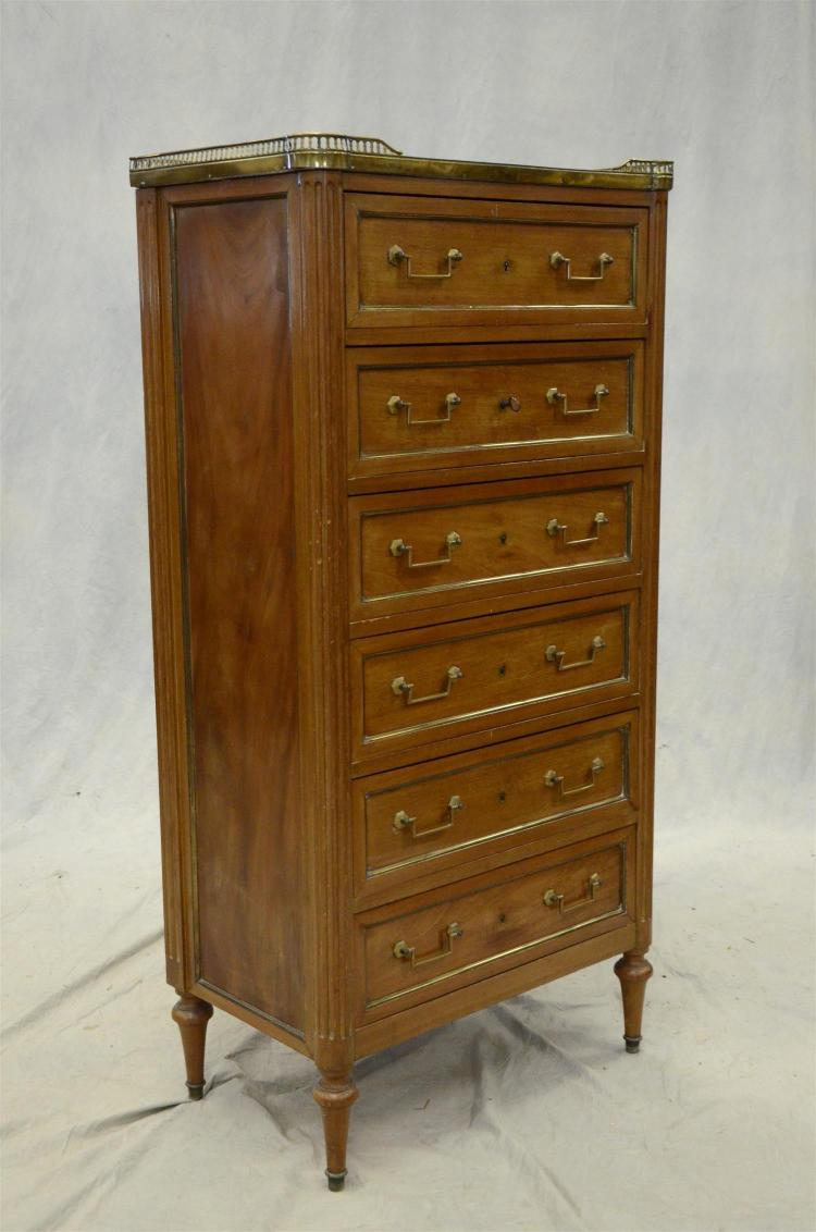 Louis XVI Style marble top lingerie chest, marble top, brass gallery and hardware, 50