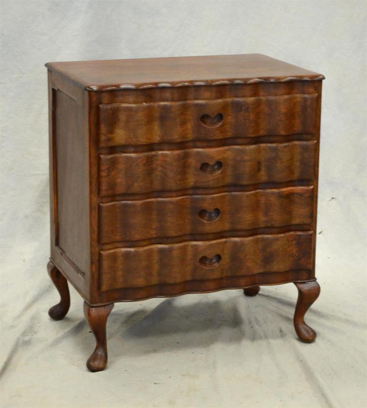 Queen Ann style scalloped front 4 drawer cabinet, mahogany, 4 drawers with scalloped front drawers, 25