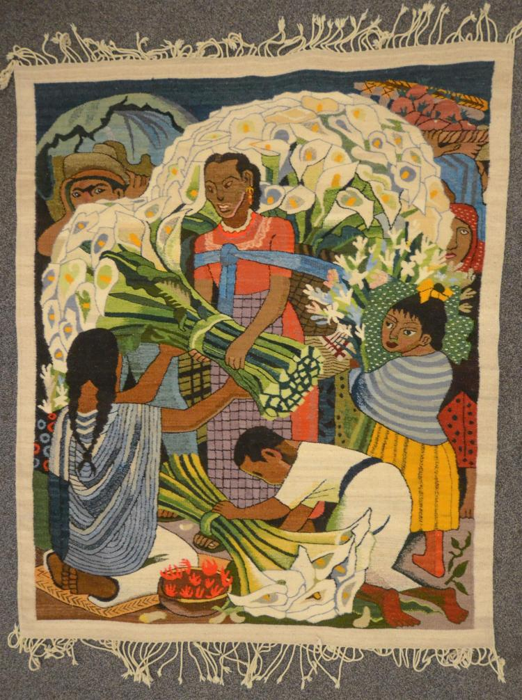 Ethnic decorative rug or wall hanging depicting a family selling bouquets of calla lilies, 61