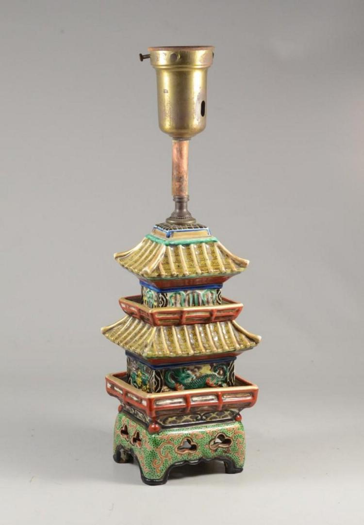 Japanese Kutani pagoda mounted as a lamp, pagoda 10-1/4
