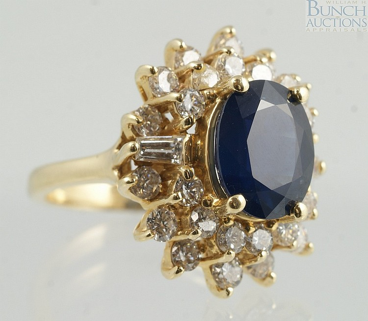 14K YG diamond & sapphire ladies ring, 10 x 8 mm sapphire, 26 round & 2 baguette diamonds, 5-7 pts ea, size 5 3/4, 4.8 dwt