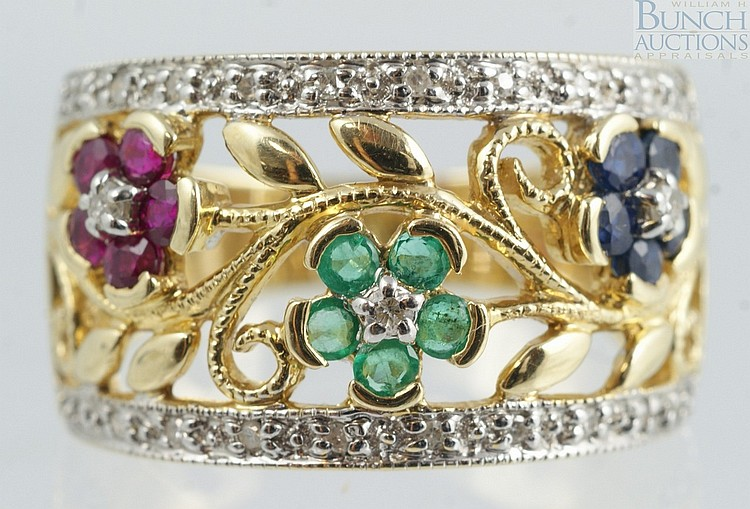 14K YG ring with tourmaline, spinel, and small diamonds, pierced setting with flower head design, size 7, 4.2 dwt