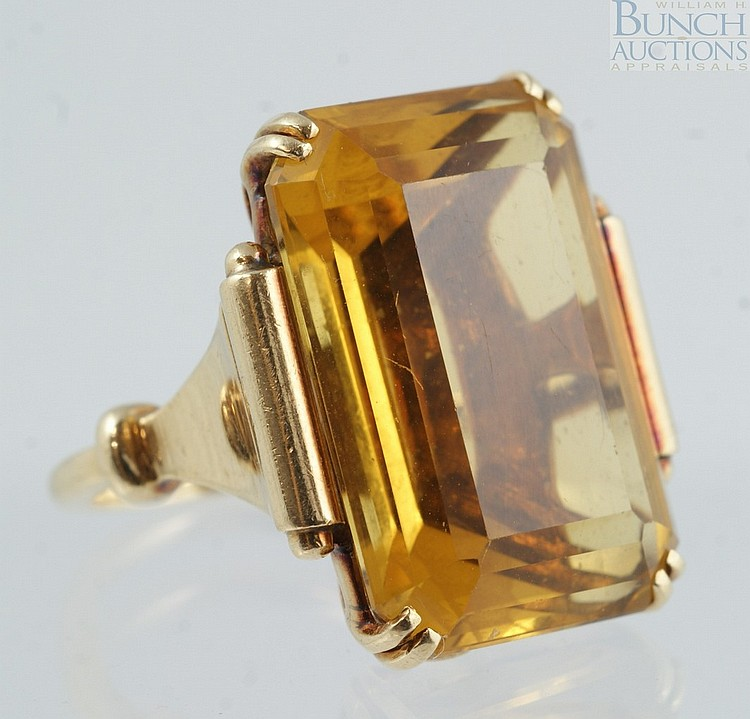 14K YG emerald cut citrine ladies ring, 22 x 15mm stone, size 5, 7.4 dwt