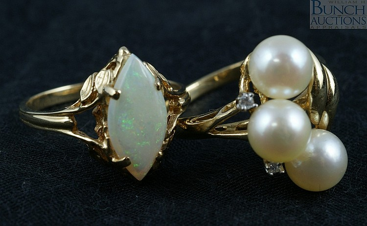 (2) 14K YG ladies rings, marquis opal and 3 stone pearl, size 5, 3.6 dwt