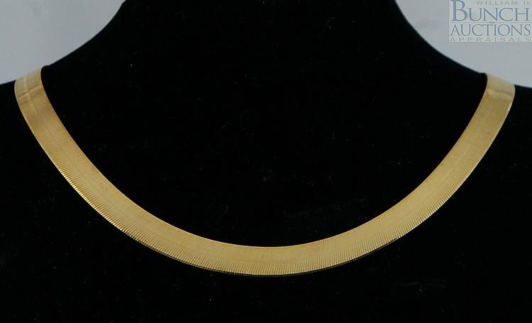 14K YG flat necklace, Italy, 18