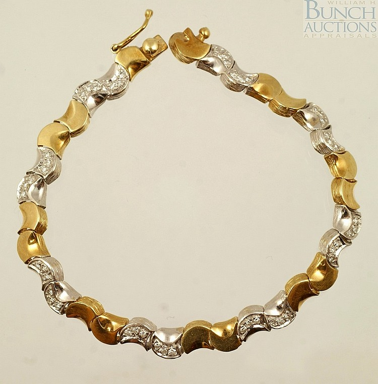 14K W&YG diamond bracelet, 48 diamonds about 1-2 pts ea, 7