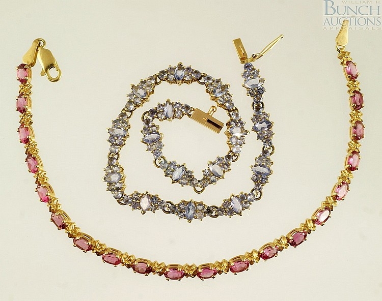 (2) 14K YG bracelets, set with pale blue and pale pink stones, 7 3/4
