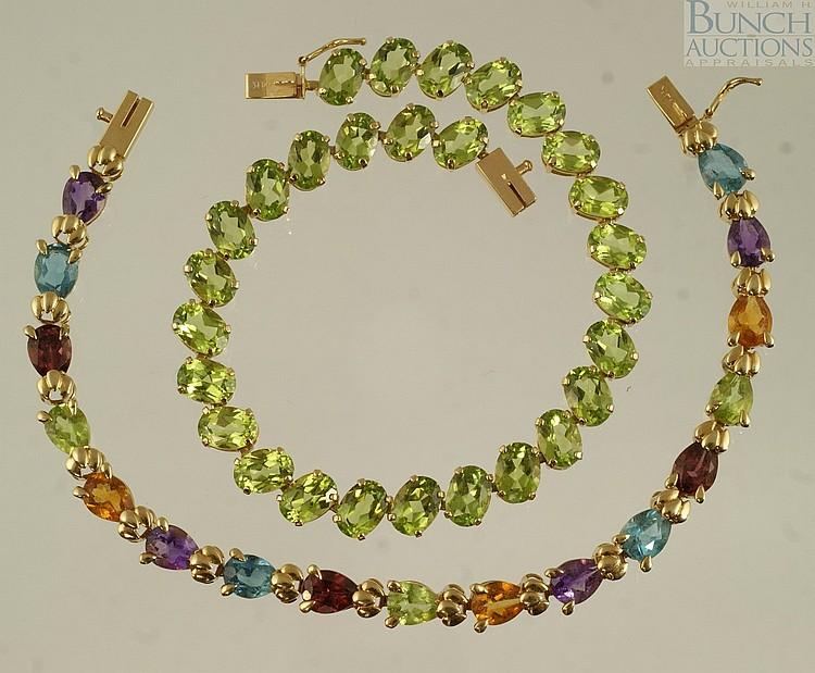 (2) 14K YG bracelets, 1 set with tourmaline, the other with tourmaline, garnet, amethyst, and a pink stone, 7