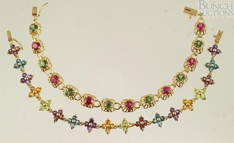 (2) 14K YG bracelets, set with tourmaline, garnet, amethyst, and other stones, 7