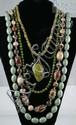 (4) jade +/or hardstone necklaces, longest 33