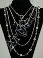(4) sterling silver necklaces, set w/clear & other stones, longest 34