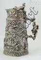French 800 silver lidded stein, Alexandre Gueyton, Paris, 1843-63, marked with the Minerva head  twice, dated on lid