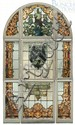 9 Piece Armorial Stained Glass Window, late 19th early 20th century, 10' high x 6' wide