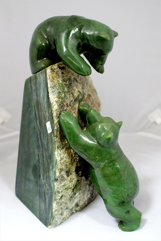 Lyle Sopel 1951 - , Victoria, British Columbia, Canada, C1989, Playful Bears, 2 Bears climbing on a rough jade base, bears are made ...