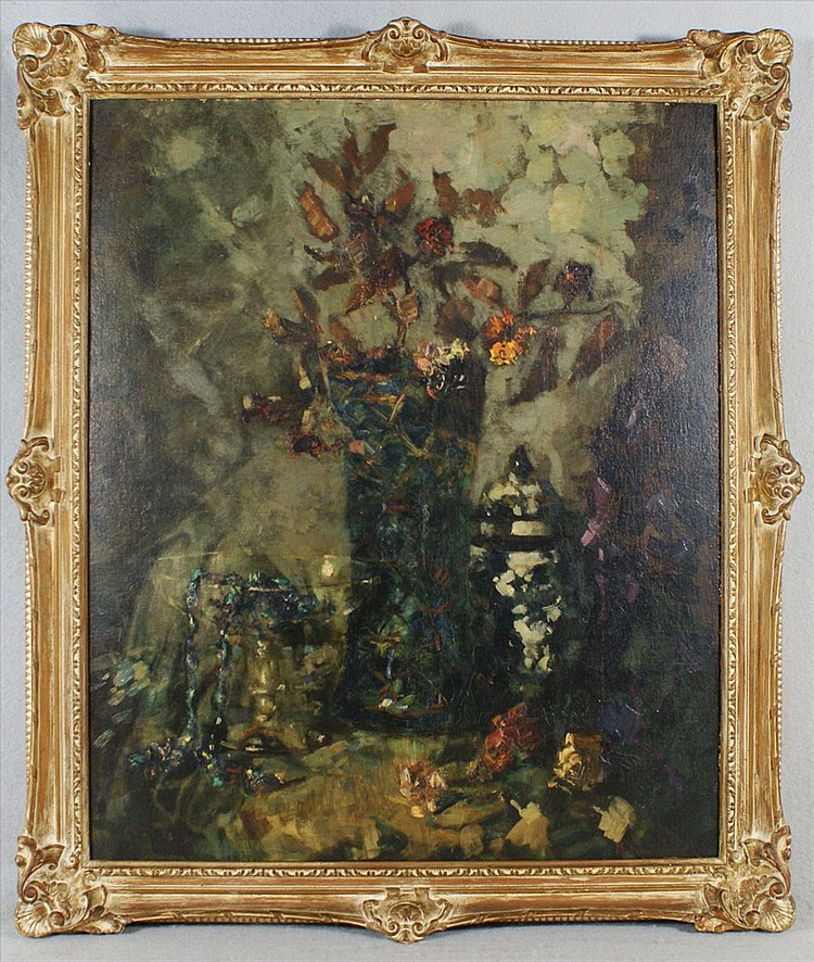 Marie Weger, 1882-1980, German/NYC, Floral Still life, O/B, 24 x 20, Signed, M Kleinbart, Inscribed verso Marie Weger Kleinbart