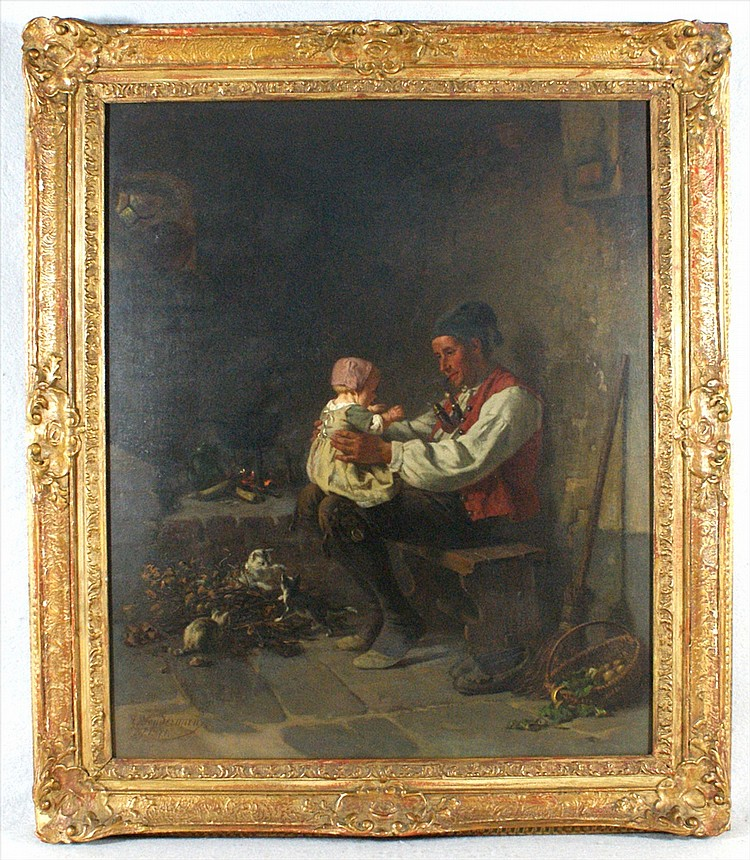 Hermann Sondermann,German,1832-1901, Father with baby and kittens playing, Dated 1871, O/C, 20 x 24, Signed LR. Lined with some rest...