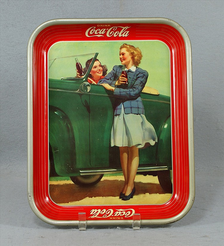 Drink Coca-Cola Adverting Tray, Two girls by green car, copyright Coca-Cola Co 1942, The American Art Works In, Coshocton, Ohio, Mad...