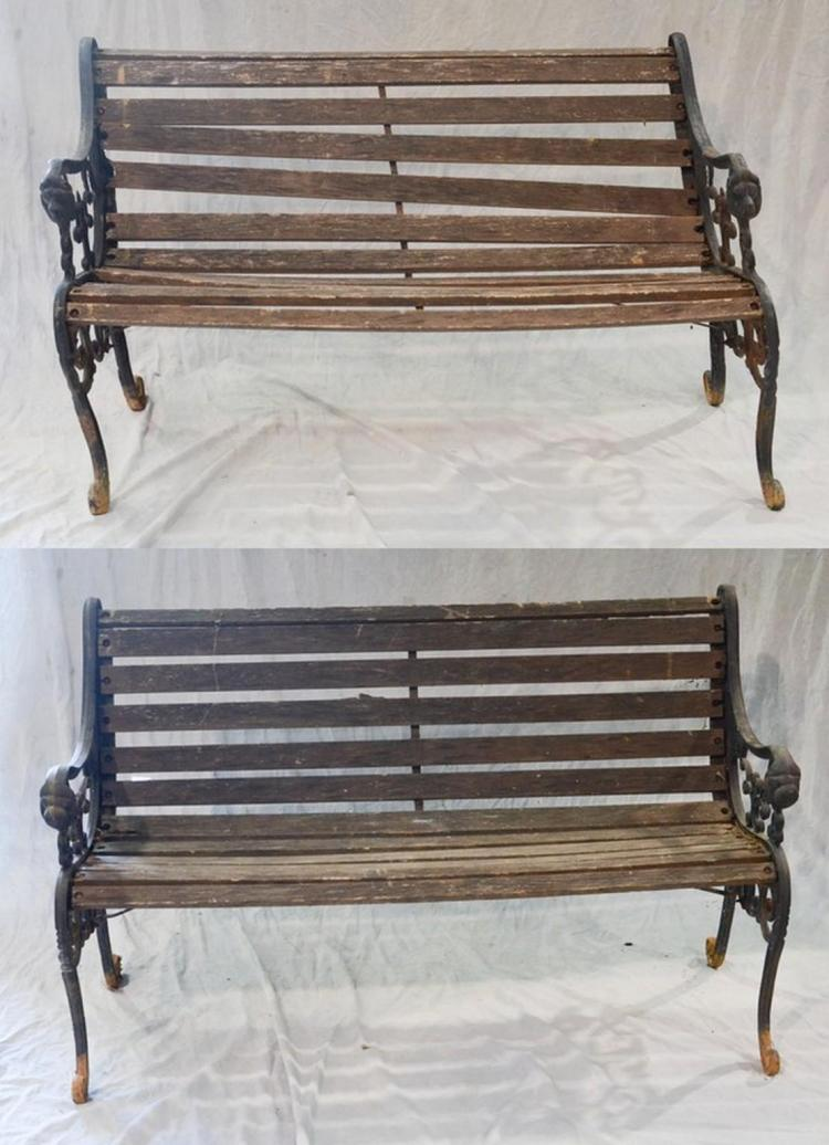 Incredible Pr Cast Iron And Slatted Wood Garden Benches Scrolled Arms Beatyapartments Chair Design Images Beatyapartmentscom