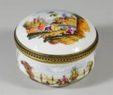 Continental painted porcelain table snuff box, painted base, lid, and interior, all with harbor and bucolic scenes, unmarked, approx...