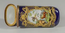 Sevres-type etui, late 19th  C, the flattened case decorated on opposing sides with birds and animals in landscape, the  hinged top...
