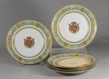 (5) Sevres style Napoleon armorial cabinet plates, partial gilt