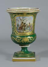 Sevres spill vase, Napoleonic decoration, green ground, windmill in landscape verso, bolted 2 pc construction, with