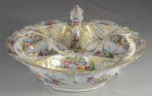 Dresden porcelain floral decorated trefoil dish, early 20th C, with underglaze blue crowned script 'D' mark, 12