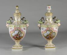 Pair of Dresden porcelain cassoulets, Helena Wolfsohn, c 1880-1900, in the 'Augustus Rex' style, each urn-form decorated with figure.