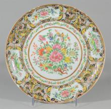 Famille Rose Canton Chinese porcelain plate, butterflies & floral decoration, small flakes around top rim, 8 5/8