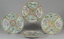 (4) Famille Rose Medallion Chinese porcelain plates, landscape, bird, & floral decoration, 8 1/2
