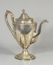 English sterling silver classical urn form coffee pot, touchmarks for London, 1796-7, no maker's mark, no monogram, 55.58 TO