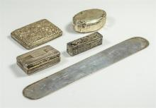 5 Pieces to include a rectangular silver English dresser box with Birmingham touchmarks, an 800 silver oval pill box, an engraved 95...