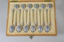 Cased set 12 Russian gilt  silver demitasse spoons, marked