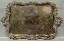 Rectangular scalloped plated tray, unmarked, 32-1/2