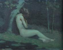 Irving Ward (American 1867-1924), painting of a female nude, oil on wood panel, signed Irving Ward, loosely mounted in gilt frame, g...