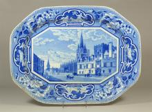 J&W Ridgway Staffordshire blue transfer platter, All Souls College, St Marys Church Oxford, titled to base, 20-3/4