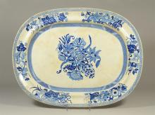 Oval blue transfer Staffordshire platter, floral design, 21