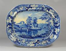 Lambton Hall, Durham blue transfer Staffordshire platter, back with considerable discoloration, 21