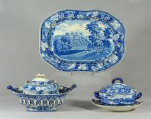(5) pcs blue Transfer Staffordshire, platter 14-1/2