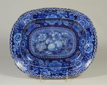 Dark blue transfer Staffordshire platter, fruit pattern, back with discoloration, 12-3/8