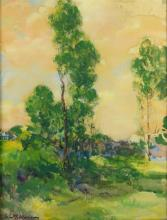 """Adele Williams (American 1868-1952), tonalist landscape watercolor painting, signed lower left, 19-1/4"""" x 15"""" sight, 26-1/4"""" x 22"""" o..."""