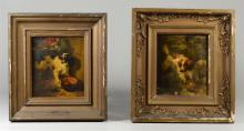 Henriette Ronner Knip (Dutch 1821-1909), two paintings of dogs, one signed HR, other signed Knip, oil on oak panel, one good conditi...