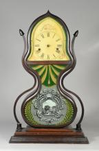 Acorn Shelf Clock, Forestville Manufacturing Company, Bristol, Connecticut, c 1847-1850, the laminated case with conforming shaped f...