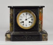French Black Marble mantle clock, gray/red marble accents, enameld dial signed Le Boutellier & Co, Paris, movement by  Japy Freres, ...