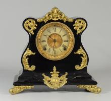 Ansonia black iron French style mantle clock, gilt decorative mounts, paper dial, 11 1/2