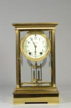 Seth Thomas crystal regulator clock, case with reeded columns, beveled glass, door has chip at lower right corner, with faux mercury...