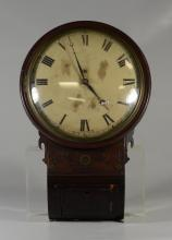 Brass inlaid mahogany Regency fusee wall clock, veneer splits and losses, unsigned, 21 1/2