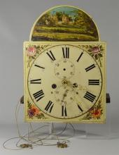 Brass 8 day tall clock movement, painted dial, lacking weight, pendulum, bell, and seconds bit, 13 1/8