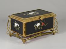 Victorian brass and pietra dura hinged trinket box, inlaid with hardstone flowers and butterfly, 5